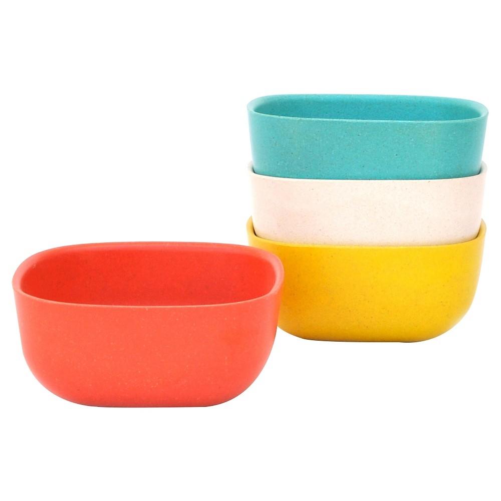 Image of BIOBU by EKOBO Gusto Bamboo Melamine Bowls (8oz) Orange - Set of 4, Orange White Blue