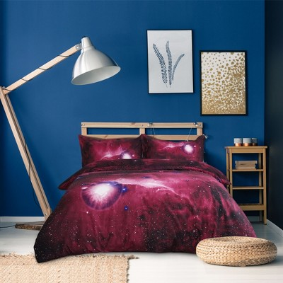 4 Pcs Queen Polyester Galaxy Sky Cosmos Night Pattern 3D Printed Bedding Sets Red  - PiccoCasa