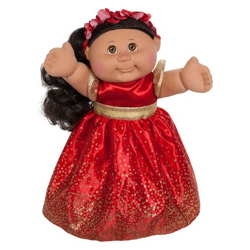 "Cabbage Patch Kids Holiday Baby Doll - Brunette Hair Brown Eyes - Red Dress 11"" - image 1 of 1"