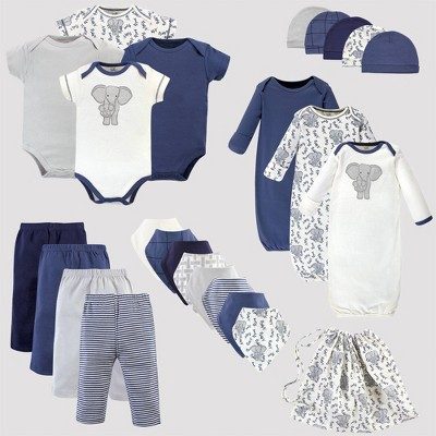 Touched by Nature Baby 25pc Organic Cotton Gift Cube Bodysuit - Elephant - Blue/White 0-6M