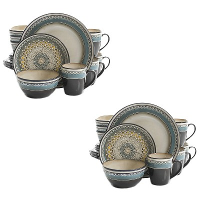 Gibson 124169.16R Everyday Elite Amberdale 16 Piece Reactive Glaze Dinnerware Set Plates, Bowls, & Mugs, Microwave and Dishwasher Safe, Teal (2 Pack)
