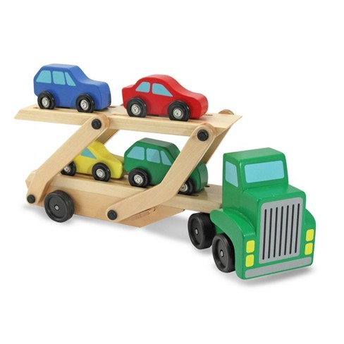 Melissa & Doug Car Carrier Truck and Cars Wooden Toy Set With 1 Truck and 4 Cars - image 1 of 4