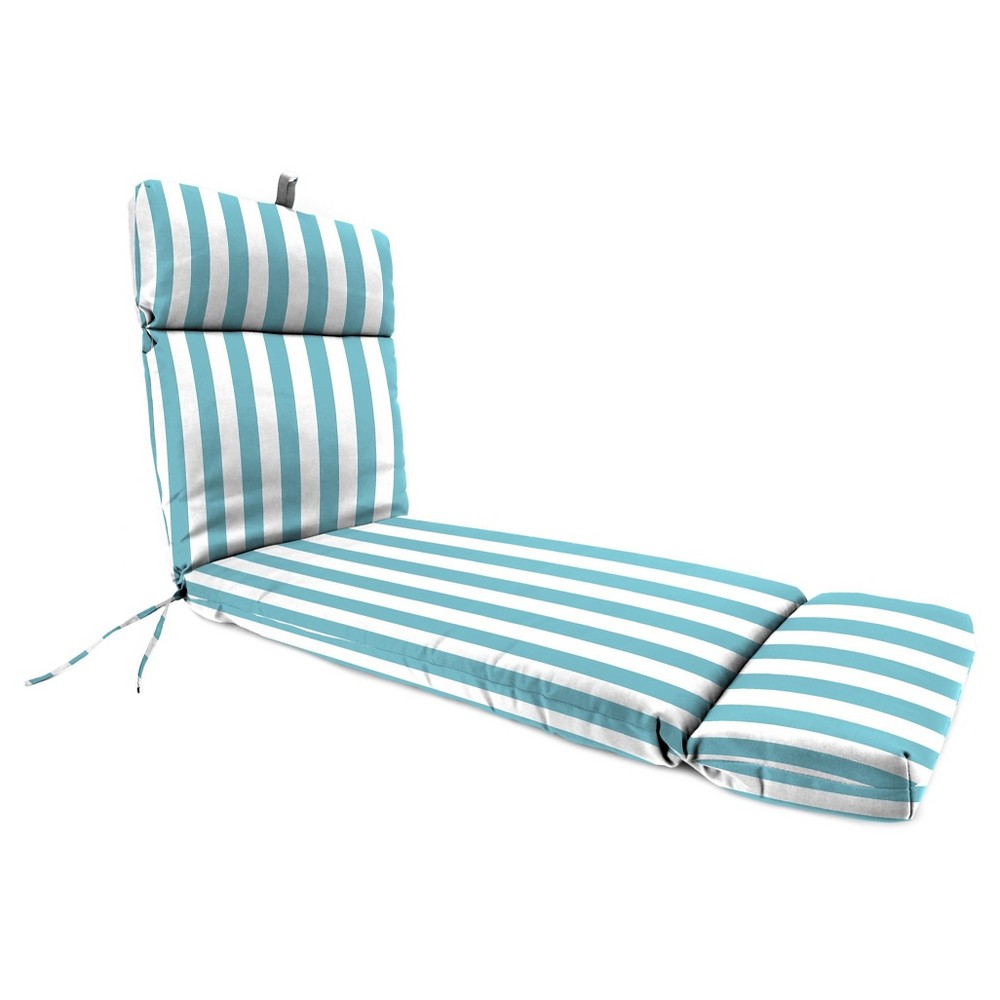 Image of Jordan French Edge Chaise Lounge Cushion - Cabana Stripe Turquoise