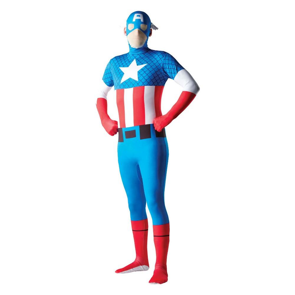 Men's Captain America Second Skin Halloween Costume - L, Multicolored