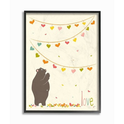 "11""x1.5""x14"" Love Bear with Heart Garland Framed Giclee Texturized Art - Stupell Industries"