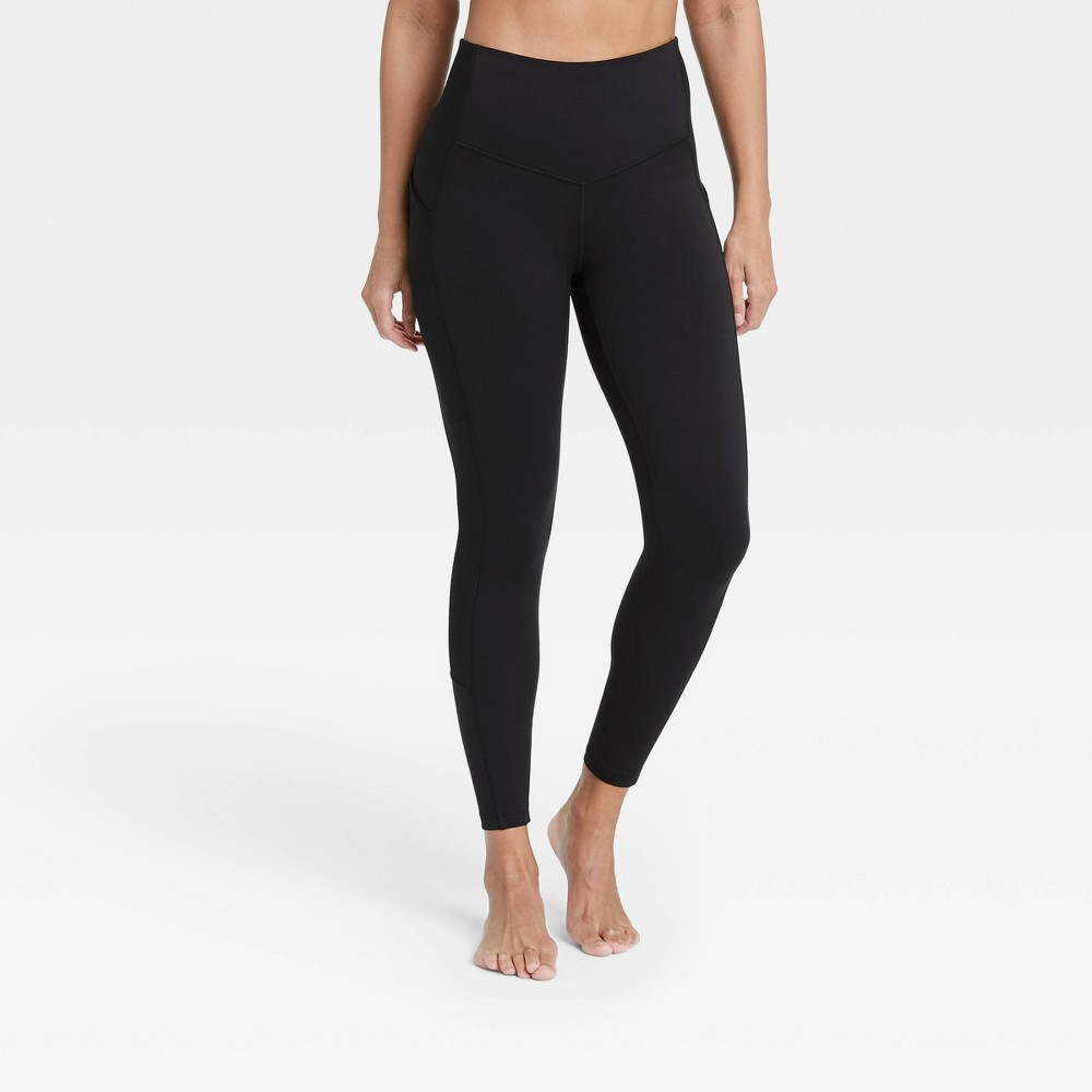 Women 39 S Contour Flex High Waisted Ribbed 7 8 Leggings 24 5 34 All In Motion 8482 Black M