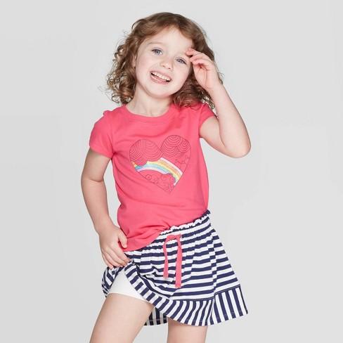 Toddler Girls' Short Sleeve Rainbow Heart Graphic T-Shirt - Cat & Jack™ Dark Pink - image 1 of 3
