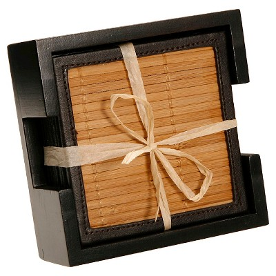 Thirstystone Bamboo & Faux Leather Coasters