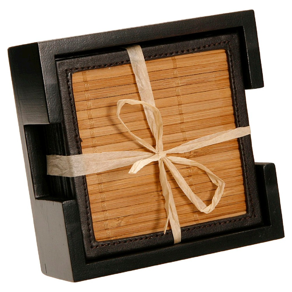 Thirstystone Bamboo & Faux Leather Coasters, Black/Brown