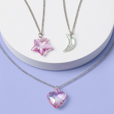 Girls' 3pk Heart and Moon Necklace Set - More Than Magic™