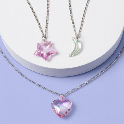 Girls' 3pk Heart and Moon Necklace Set - More Than Magic™ - image 1 of 2