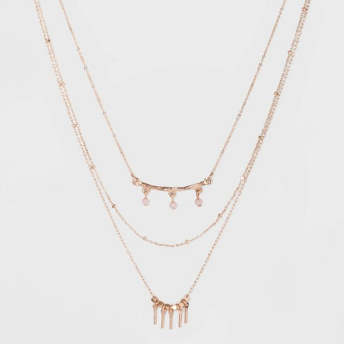 Three Rows and Bar Layered Necklace - A New Day™ Rose Gold - image 1 of 3