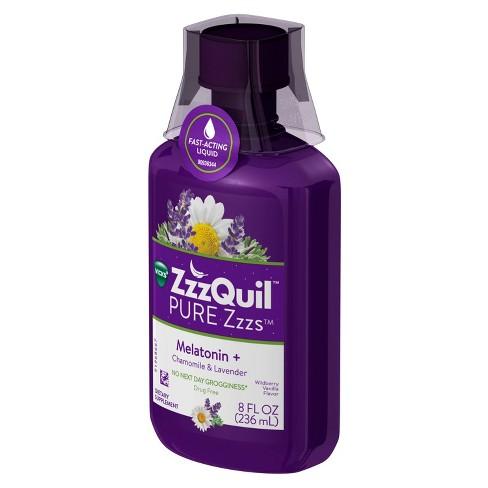 ZzzQuil Pure Zzzs Melatonin + Chamomile & Lavender Sleep Aid Liquid - 8 fl  oz