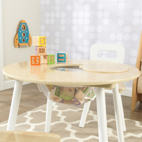 Kidkraft Round Table And 2 Chair Set Whitenatural.Round Table And Chair White Natural Set Of 2 Kidkraft