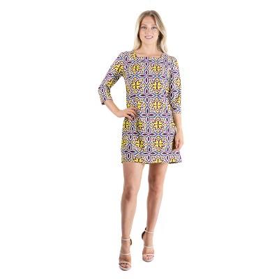 24seven Comfort Apparel Women's Three Quarter Sleeve Mini Dress