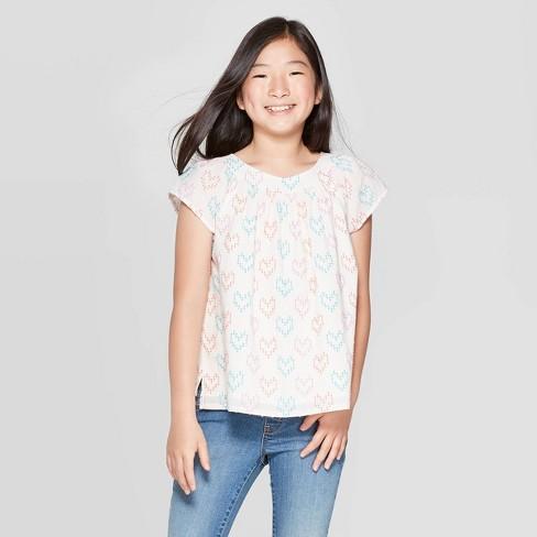 Girls' Hearts Short Sleeve Woven Top - Cat & Jack™ Cream - image 1 of 3