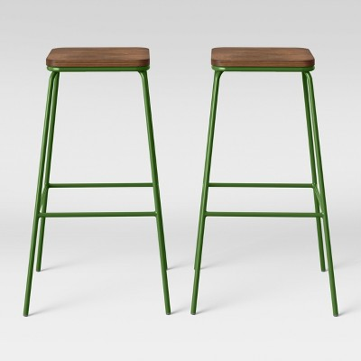 Set of 2 Rhodes Metal/Wood Barstool Green - Project 62™