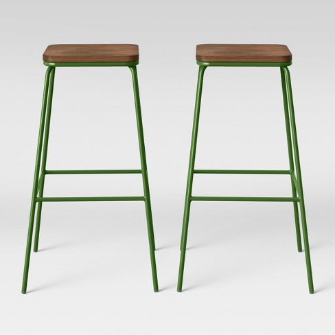 Set of 2 Rhodes Metal/Wood Barstool Green - Project 62™ - image 1 of 4