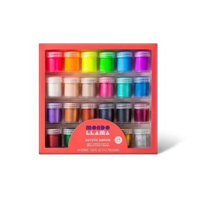 24ct Acrylic Paint Set Metallic, Neon, & Glitter - Mondo Llama™