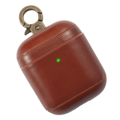 Insten Genuine Leather Case For Airpods 2 & 1 with Anti Loss Keychain Carrying Hook, Front LED Light Visible, Brown
