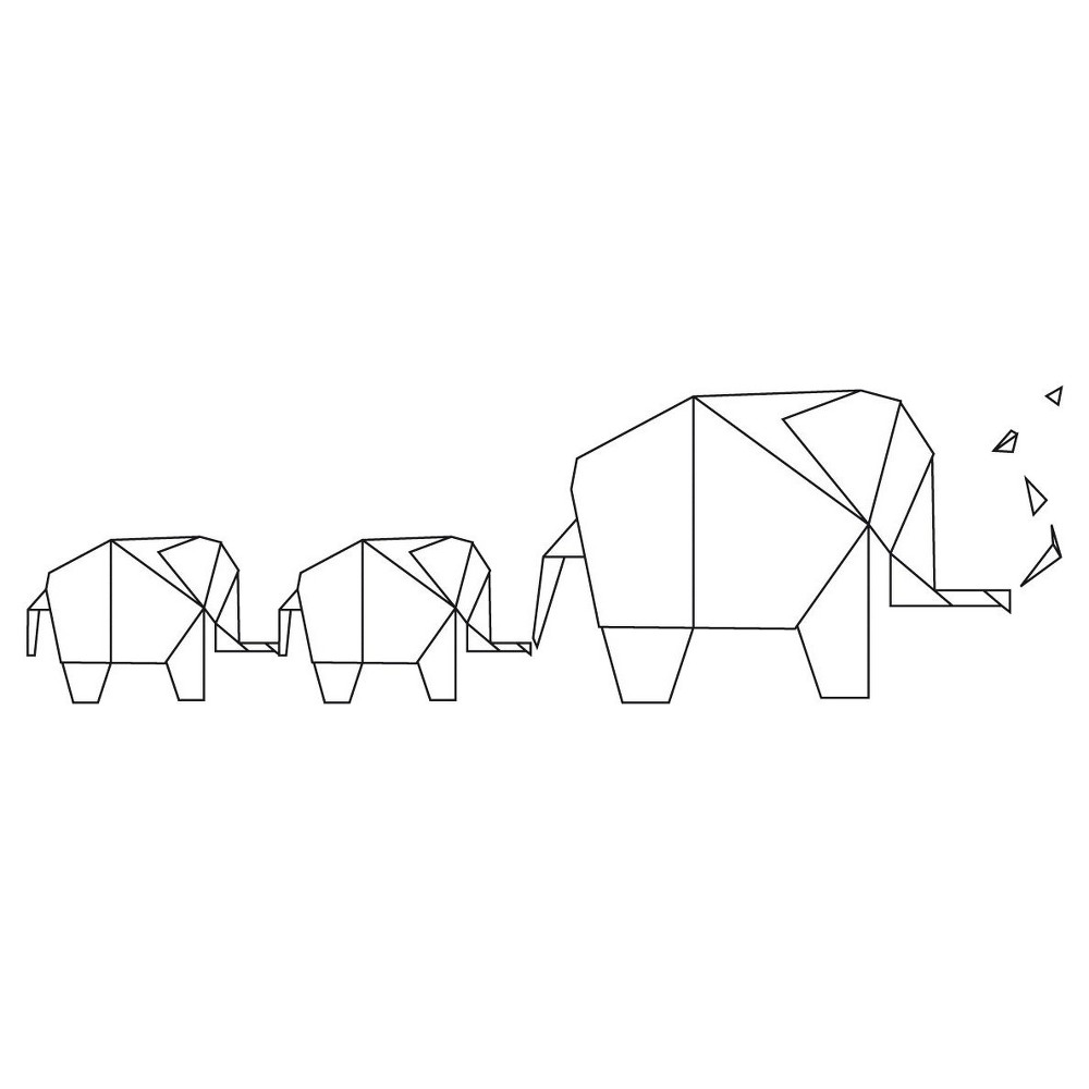 Image of Elephant Origami Wall Decal - Black