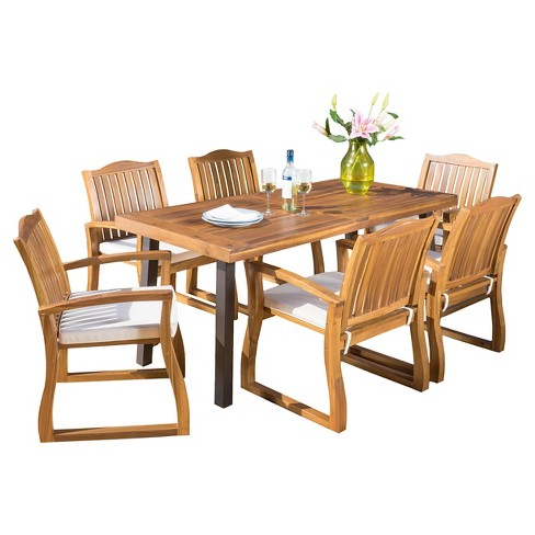 Fantastic Della 7Pc Rectangle Acacia Wood Patio Dining Set Teak Christopher Knight Home Download Free Architecture Designs Jebrpmadebymaigaardcom