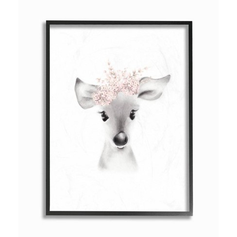 """11""""x1.5""""x14"""" Sketched Fluffy Deer Flowers Framed Giclee Texturized Art - Stupell Industries - image 1 of 3"""