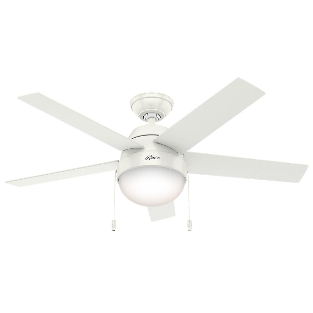 "Image of ""46"""" Anslee Fresh White Ceiling Fan with Light - Hunter Fan"""