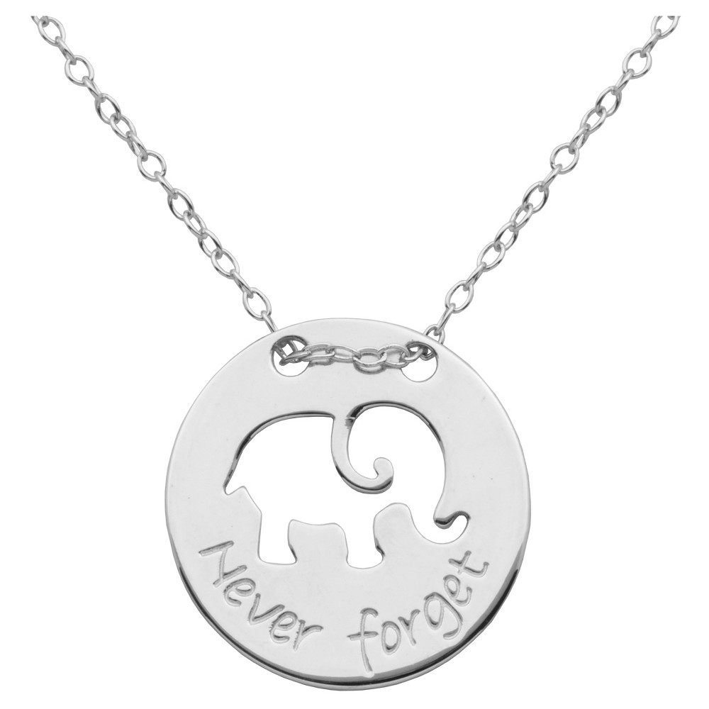 """Image of """"Fine Silver Plated Bronze 'Never Forget' Elephant Necklace with 18+2"""""""" Chain, Women's"""""""