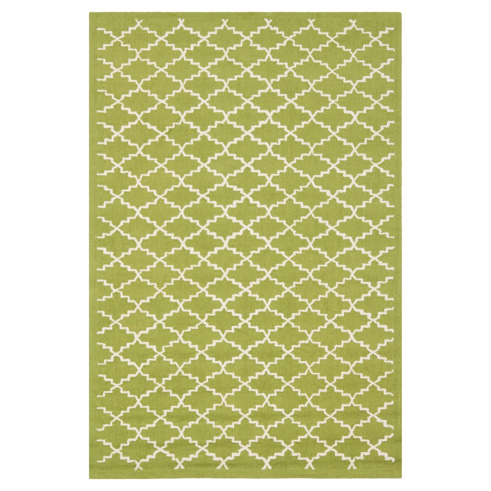Olive/Ivory Abstract Hooked Accent Rug - (3'9