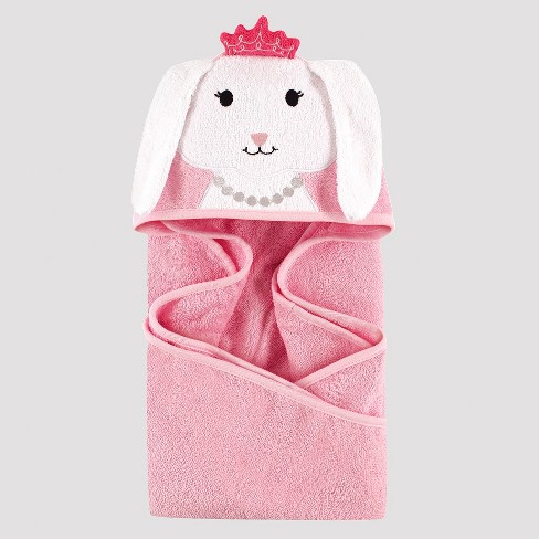 Hudson Baby Girls' Bunny Hooded Towel - Pink One Size - image 1 of 1