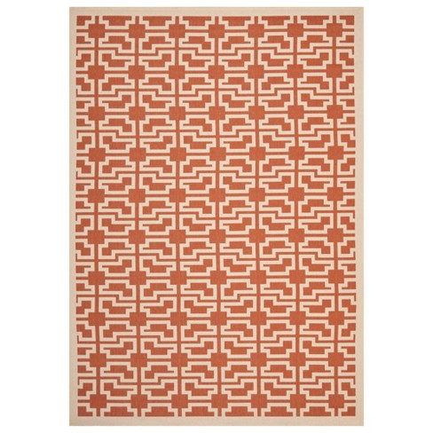 "6'7"" x 9'6"" Bury Outdoor Rug Terracotta/Beige - Safavieh - image 1 of 1"