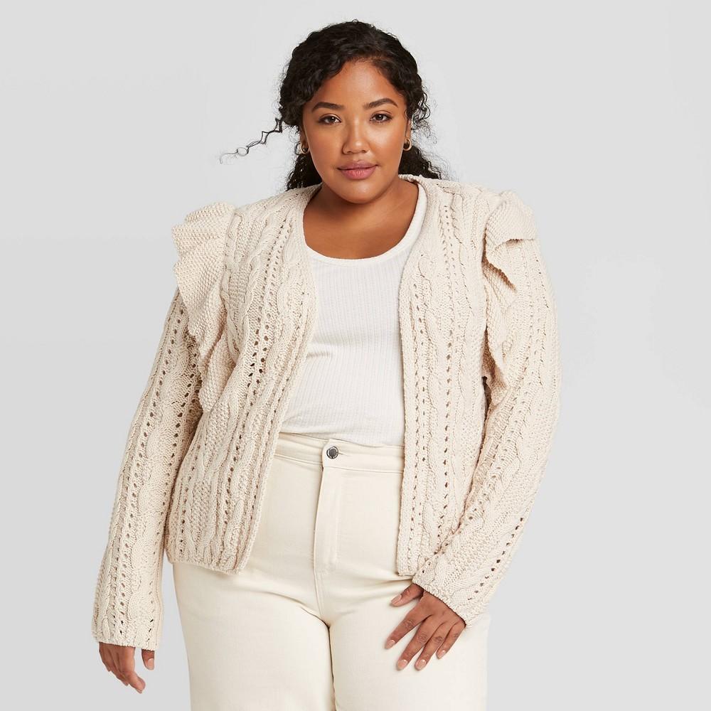Women 39 S Plus Size Ruffle Cardigan Universal Thread 8482 Cream 2x