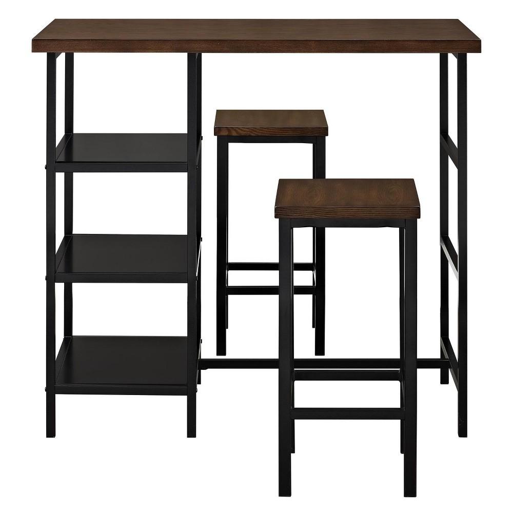 Hugo 3 Piece Metal Pub Set with Wood Top Dark Mahogany (Brown) - Dorel Living