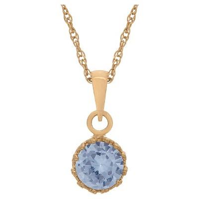 Tiara Gold Over Silver Round-cut Birthstone Crown Pendant
