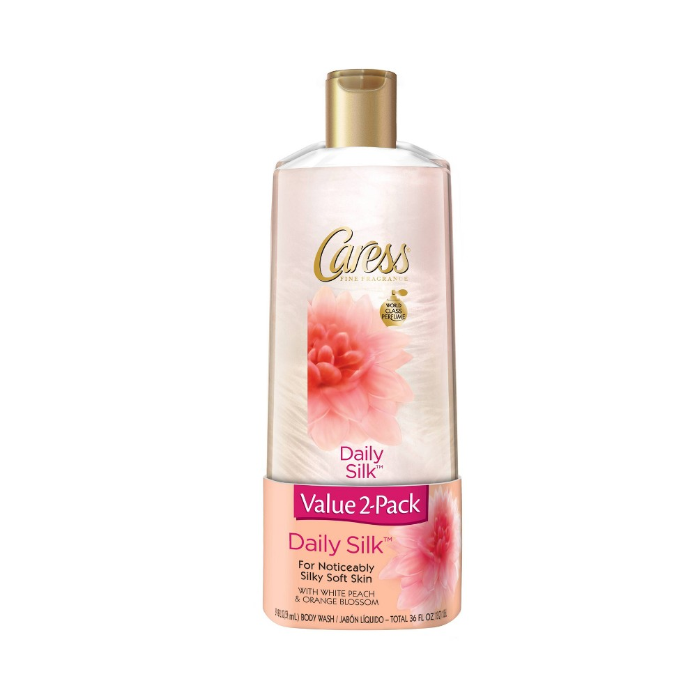 Image of Caress Daily Silk White Peach and Silky Orange Blossom Body Wash Twin Pack - 18 fl oz