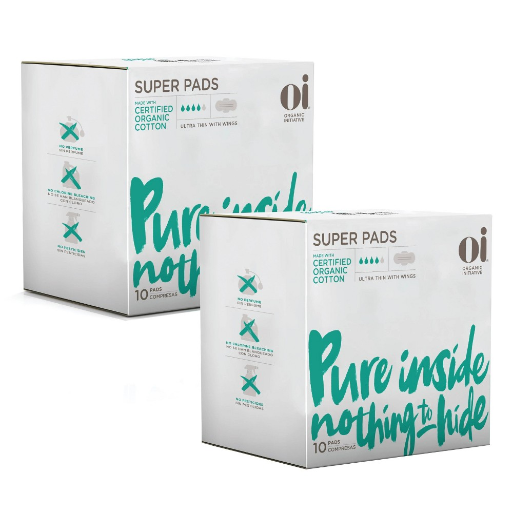 Oi Organic Cotton Ultra Thin Pads With Wings Super 2pk