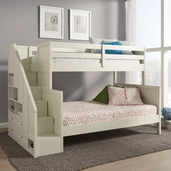Twin Over Full Naples Bunk Cot with Steps Off White - Home Styles