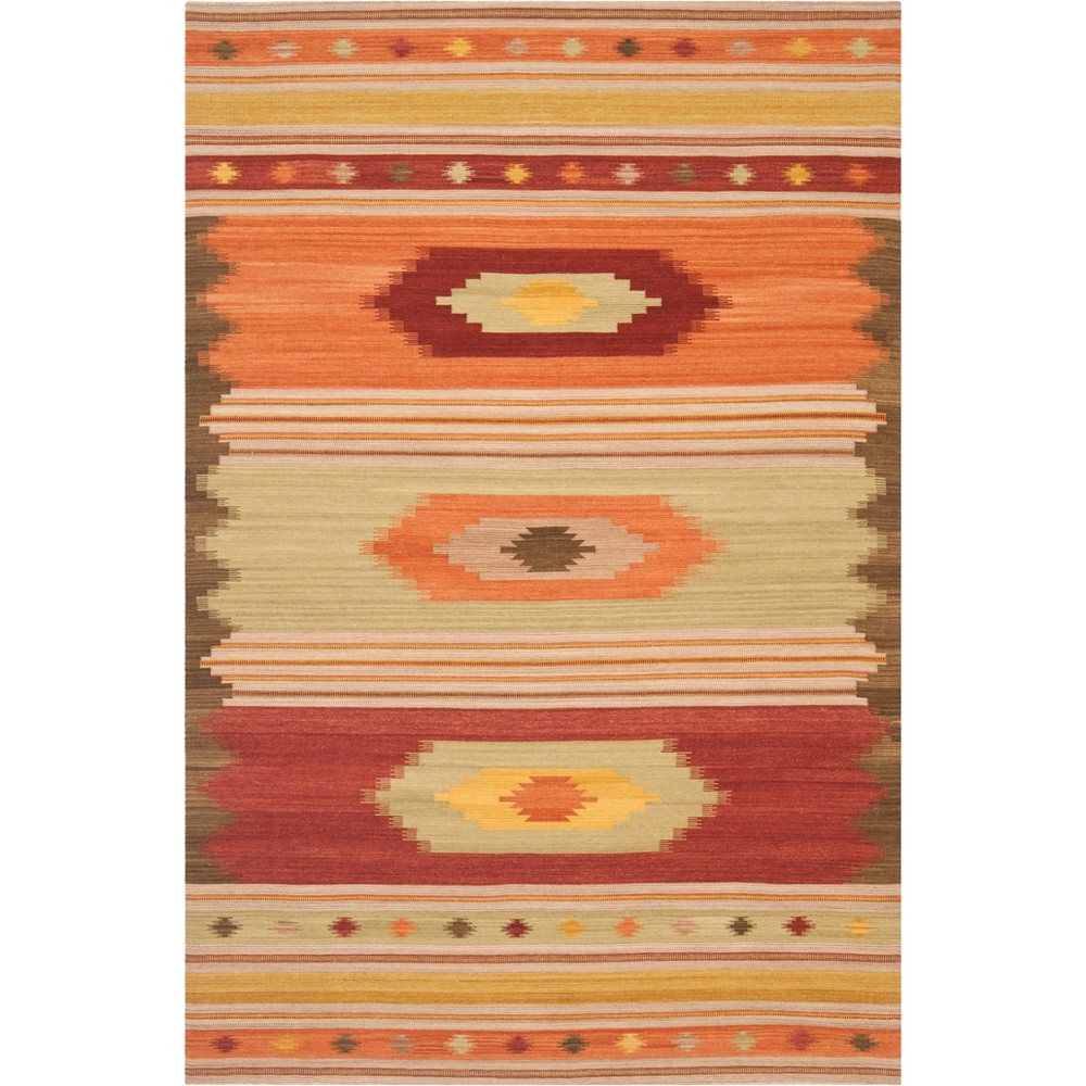 Tribal Design Woven Area Rug Brown