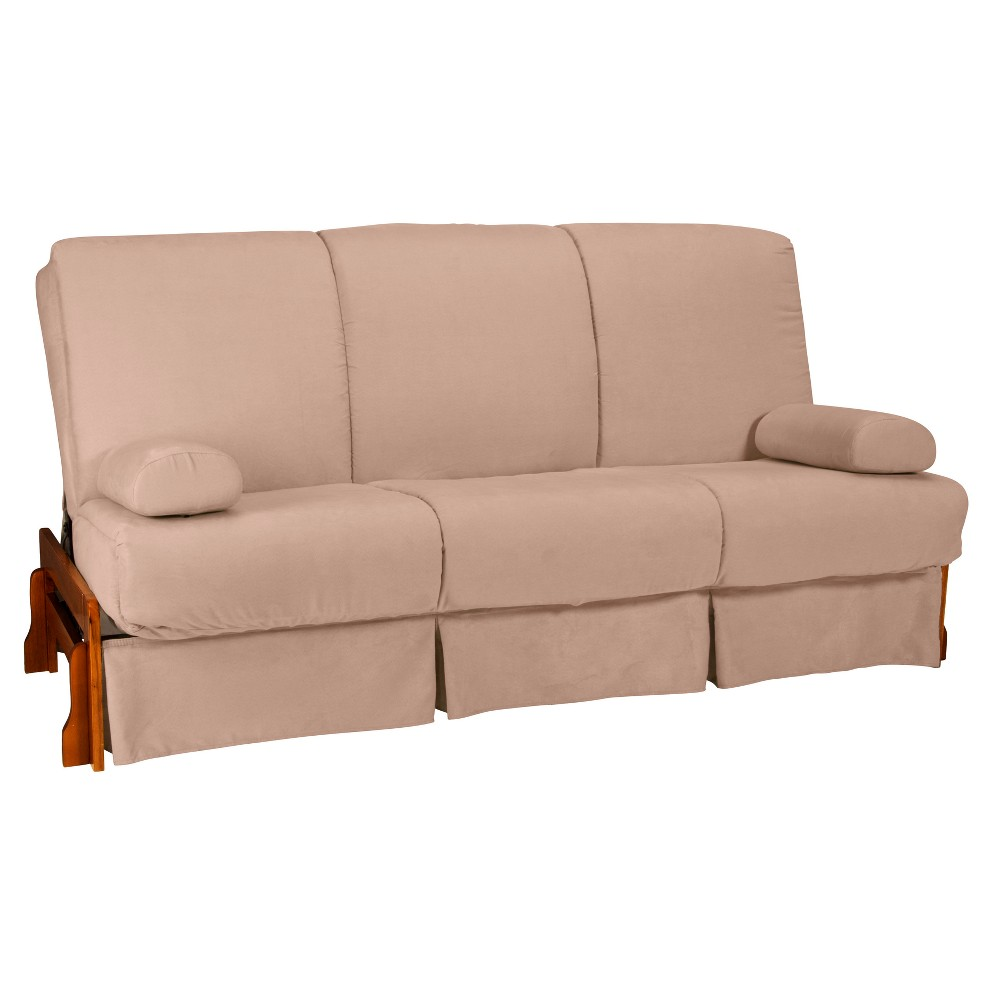 Fine Low Arm Perfect Futon Sofa Sleeper Walnut Wood Finish Khaki Creativecarmelina Interior Chair Design Creativecarmelinacom