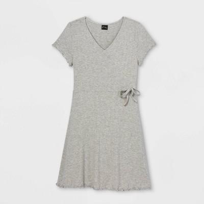 Girls' Rib-Knit Short Sleeve Wrap Dress - art class™