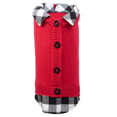 The Worthy Dog Plaid Layered-Look Two-fer Pet Pullover Cardigan Sweater