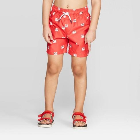 Toddler Boys' Crab Swim Trunks - Cat & Jack™ Red - image 1 of 3
