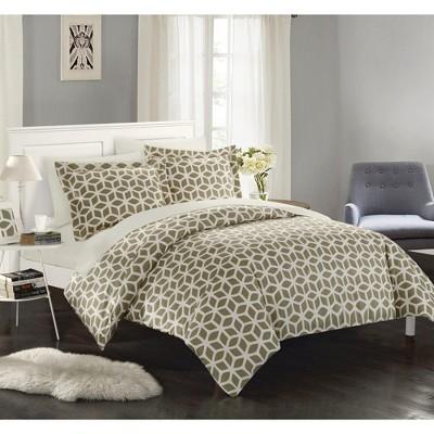 Chic Home Elizabeth 3 Piece Duvet Cover Set Geometric Diamond Design Bedding Zipper Closure - Decorative Pillow Shams Taupe