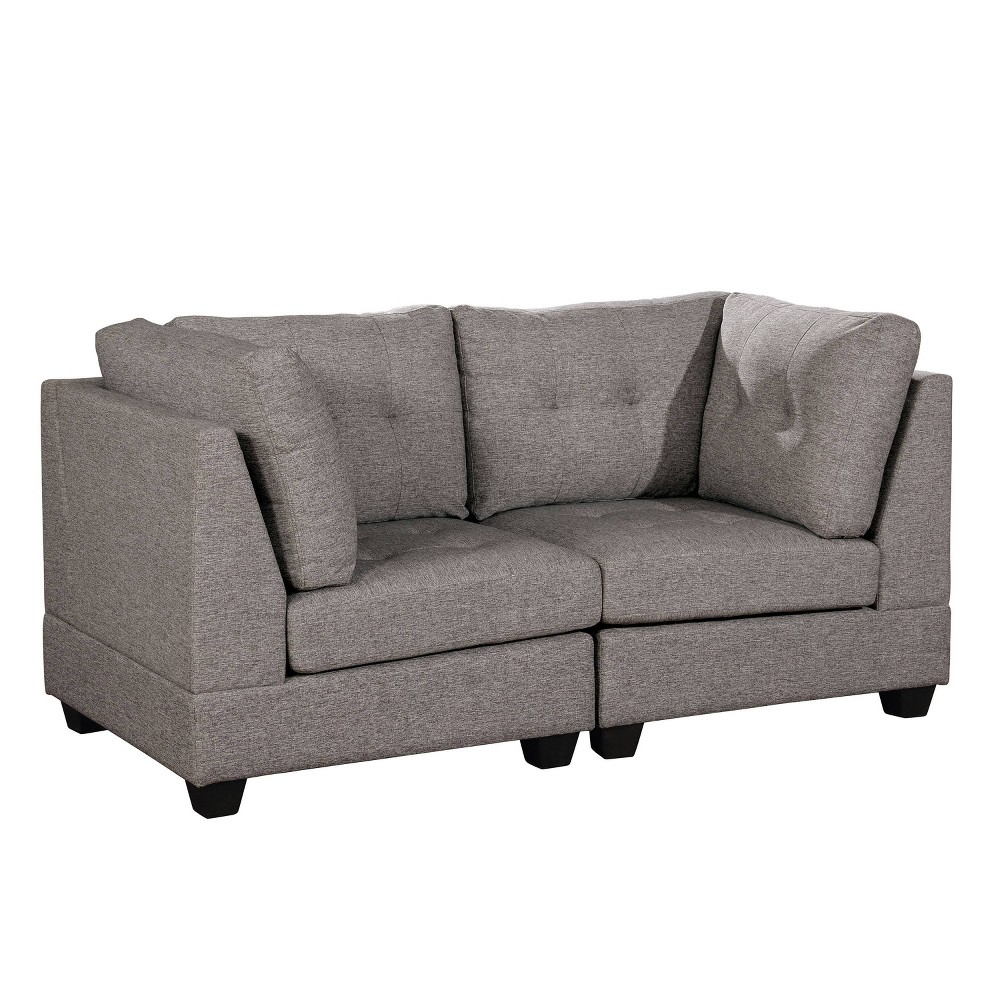 Bronwyn Tufted Loveseat Light Gray - miBasics