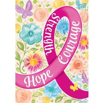 "Home & Garden 18.0"" Hope Courage Strength Flag Garden Breast Cancer Custom Decor  -  Flags"