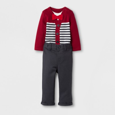 Baby Boys' Bowtie Jersey and Pants Set - Cat & Jack™ Red Ribbon Newborn