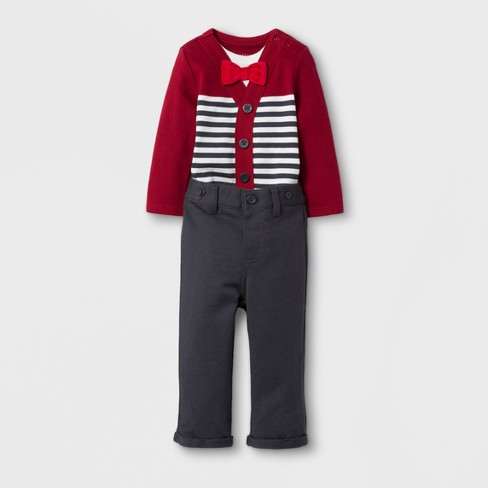 4c3a1c546 Baby Boys  Bowtie Jersey And Pants Set - Cat   Jack™ Red Ribbon   Target