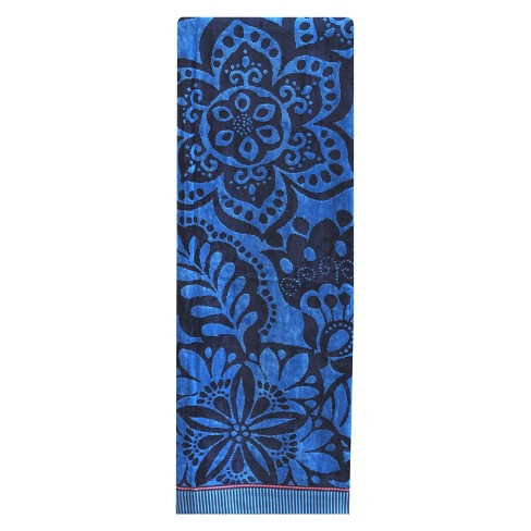 XL Floral Beach Towel Athens Blue - image 1 of 1