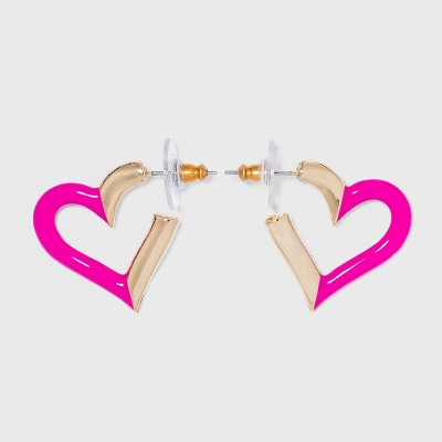 SUGARFIX by BaubleBar Enamel and Gold Heart Hoop Earrings